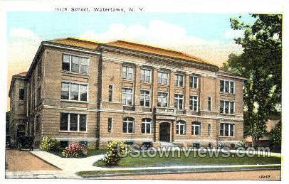 High School, Watertown - New York NY Postcard