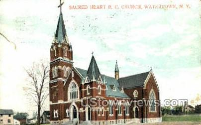 Sacred Heart R.C. Church - Watertown, New York NY Postcard
