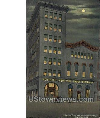 Sherman Bldg & Masonic Hall - Watertown, New York NY Postcard