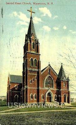 Sacred Heart Church - Watertown, New York NY Postcard