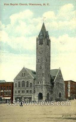 First Baptist Church - Watertown, New York NY Postcard