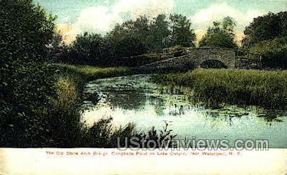 Old Stone Arch Bridge, Lake Ontario - Watertown, New York NY Postcard