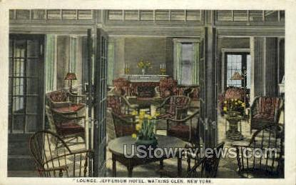 Lounge, Jefferson Hotel - Watkins Glen, New York NY Postcard