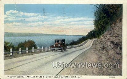 Seneca Lake & State Highway - Watkins Glen, New York NY Postcard