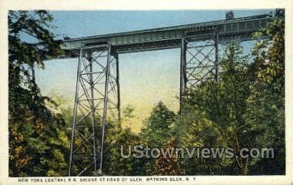 NY Central R.R. Bridge - Watkins Glen, New York NY Postcard