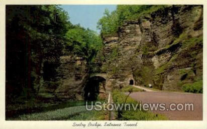 Sentry Bridge, Entrance Tunnel - Watkins Glen, New York NY Postcard