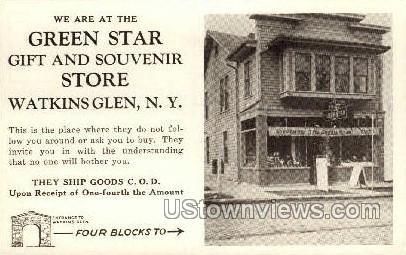 Green Star Gift & Souvenir Store - Watkins Glen, New York NY Postcard