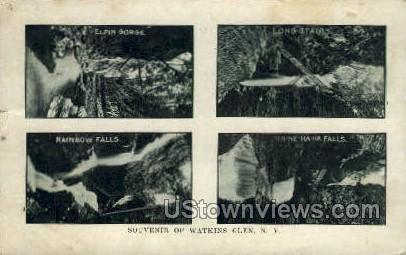 Rainbow Falls, Elfin Gorge - Watkins Glen, New York NY Postcard