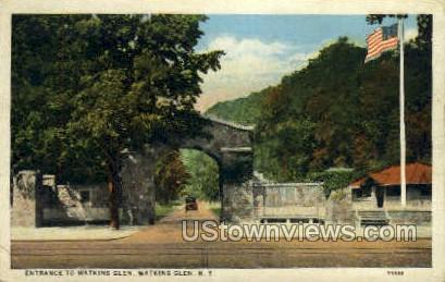 Entrance to Watkins Glen - New York NY Postcard