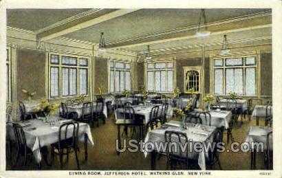 Jefferson Hotel, Dining Room - Watkins Glen, New York NY Postcard