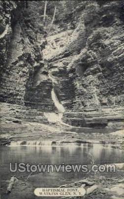 Baptismal Font - Watkins Glen, New York NY Postcard
