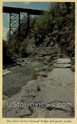 NY Central R.R. Bridge - Watkins Glen, New York NY Postcard