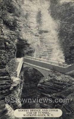 Sentry Bridge & Upper End of Tunnel - Watkins Glen, New York NY Postcard