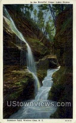 Rainbow Falls - Watkins Glen, New York NY Postcard