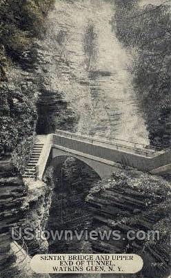 Sentry Bridge & Upper End of Tunnel - Watkins Glen, New York NY Postcard