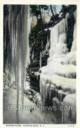 Winter Scene - Watkins Glen, New York NY Postcard