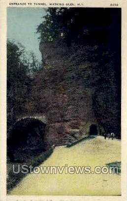 Entrance to Tunnel - Watkins Glen, New York NY Postcard