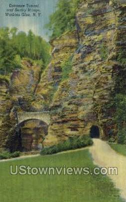 Entrance Tunnel & Sentry Bridge - Watkins Glen, New York NY Postcard