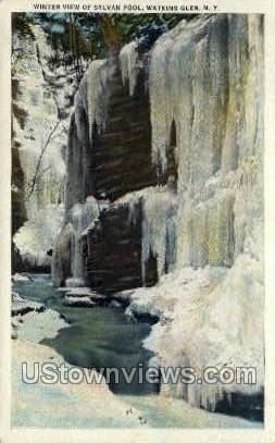 Sylvan Pool - Watkins Glen, New York NY Postcard