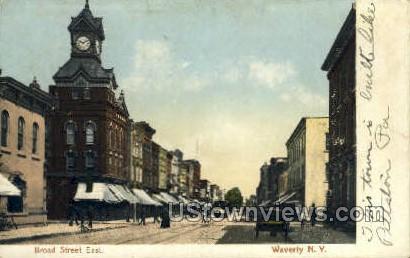 Broad Street - Waverly, New York NY Postcard