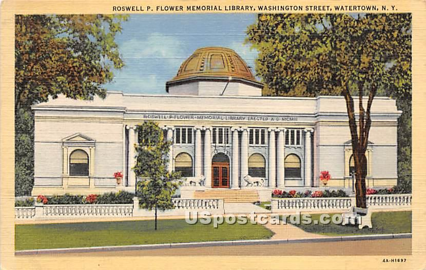 Roswell P Flower Memorial Library - Watertown, New York NY Postcard