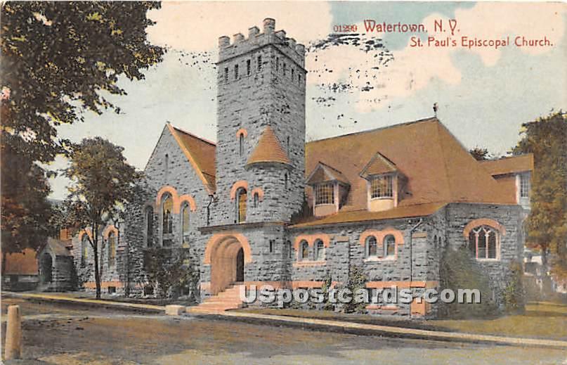 St Paul's Episcopal Church - Watertown, New York NY Postcard