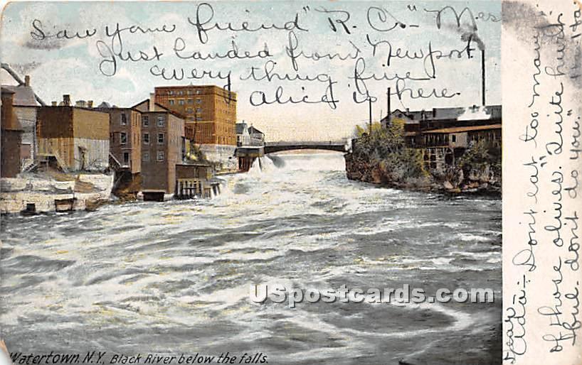 Black River, Falls - Watertown, New York NY Postcard