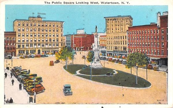 Public Square Watertown, New York Postcard