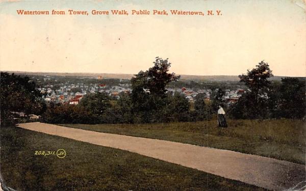 Grove Walk Watertown, New York Postcard