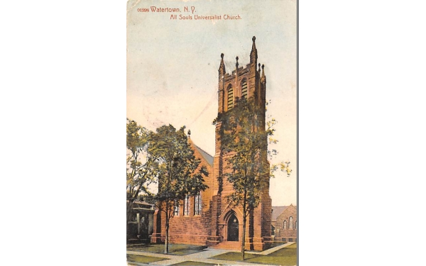 All Souls Universalist Church Watertown, New York Postcard