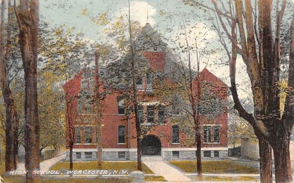 High School Worcester, New York Postcard