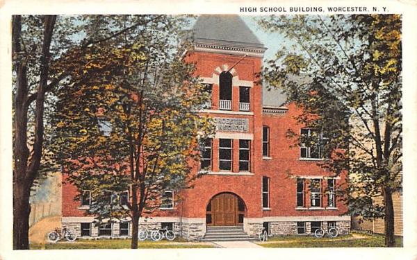 High School Building Worcester, New York Postcard