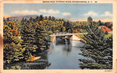 Bridge over Schroon River Warrensburg, New York Postcard