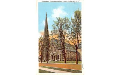 Immaculate Conception Catholic Church Wellsville, New York Postcard