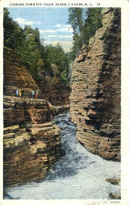 Looking down the River - Ausable Chasm, New York NY Postcard