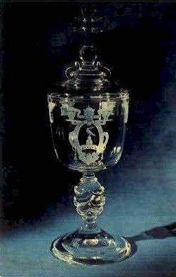 Papal Cup Steuben Glass Pope Pious XII  - Corning, New York NY Postcard