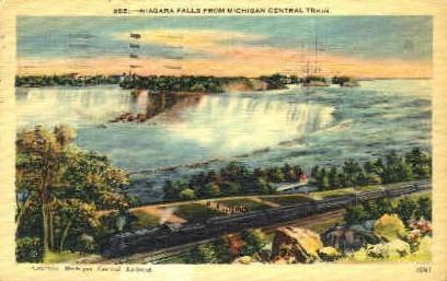 Niagara Falls from Michigan Central Train - Long Island, New York NY Postcard