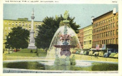 The Fountain, Public Square - Watertown, New York NY Postcard