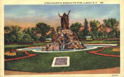 Kings Fountain, Washington Park - Albany, New York NY Postcard