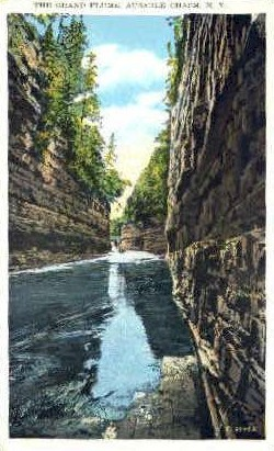 The Grand Flume - Ausable Chasm, New York NY Postcard
