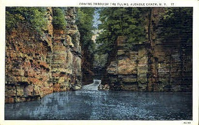 Flume - Ausable Chasm, New York NY Postcard