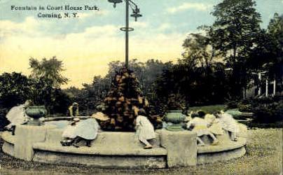 Court House Park - Corning, New York NY Postcard