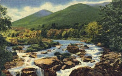 Whiteface Mountains and Ausable River - Adirondack Mts, New York NY Postcard