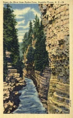 Down the River from Hydes Cave - Ausable Chasm, New York NY Postcard