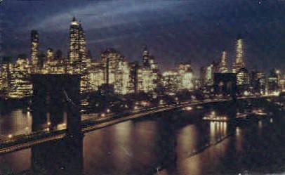 Brooklyn Bridge at Night - New York City Postcards, New York NY Postcard