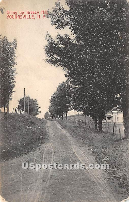 Going up Breezy Hill - Youngsville, New York NY Postcard