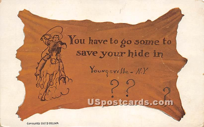 You have to go some to save your hide - Youngsville, New York NY Postcard