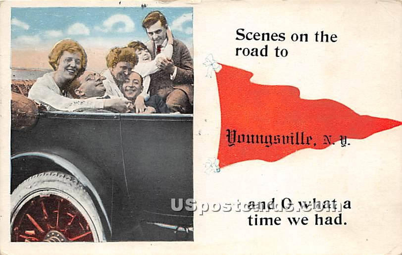 Scenes on the Road - Youngsville, New York NY Postcard