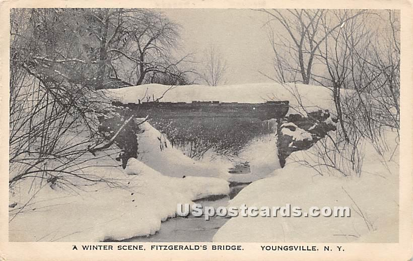 Winter Scene - Youngsville, New York NY Postcard