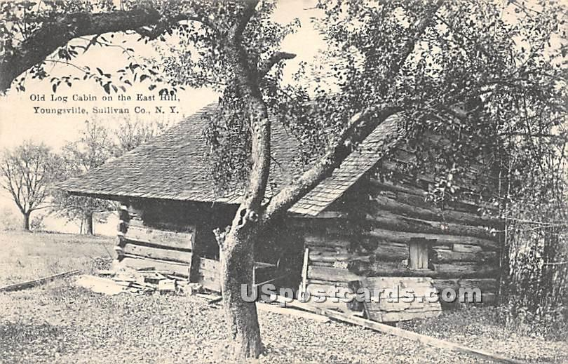 Old Log Cabin on the East Hill - Youngsville, New York NY Postcard